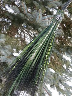 Witch's Broom in Shades of Green Witches Broom by WayOfTheCauldron