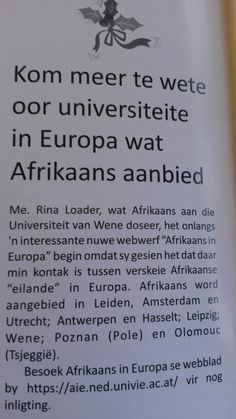 Afrikaans in Europa oorsee internationaal.