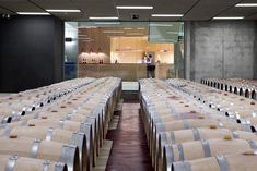 You can see the barrel warehouse from the frontdesk of the hotel. Rioja Wine, Rhyme And Reason, Front Desk, Wine Tasting, Spain, Restaurant, Canning, Interior Design, Architecture