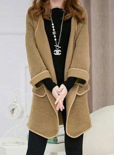 Women's Casual Turn Down Collar Solid Cardigan Coats
