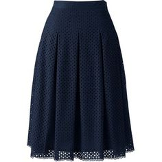 Lands' End Women's Petite Pleated Eyelet A-line Skirt