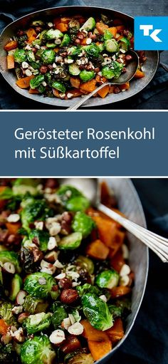 Recipe for roasted Brussels sprouts with sweet potato. Quick and easy to prepare . - Rezepte - Recipe for roasted Brussels sprouts with sweet potato. Quick and easy to prepare and perfect for th - Healthy Meals To Cook, Vegetarian Recipes Easy, Raw Food Recipes, Healthy Cooking, Easy Meals, Healthy Recipes, Vegan Meals, Roast Recipes, Love Food