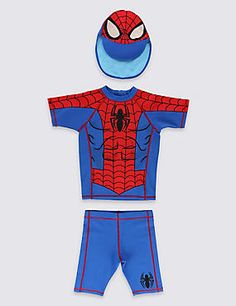 3 Piece Spider-Man™ Swimsuit with Hat (1-7 Years)