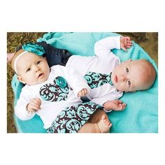 Twins Baby Onesie Set, 2 matching Onesies, INCLUDES skirt and headband ❤ liked on Polyvore featuring babies, kids, twins and pictures