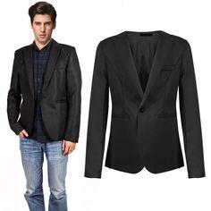 <font><b>Men</b></font> Casual <font><b>Slim</b></font> <font><b>Fit</b></font> <font><b>Blazer</b></font> Suit Coat Wedding Party Tops Hombre Jackets <font><b>Black</b></font> <font><b>Grey</b></font> Price: INR 854.46582 | India