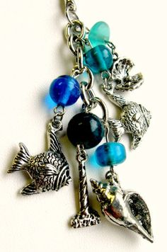 Nautical Key Chain - Silver 5-charm key chain with blue glass beads - Into the Ocean