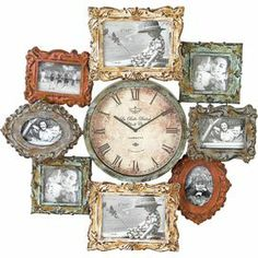 "Surrounded by 8 antiqued picture frames, this round wall clock features a vintage-style face with Roman numerals. Product: Picture frame wall clockConstruction Material: Metal and glassColor: MultiFeatures: Holds eight picturesAccommodates: Batteries - not includedDimensions: 28.35"" H x 27.17"" W x 5.51"" D"
