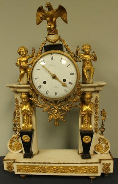 19TH C. WHITE MARBLE AND GILT BRONZE CLOCK :