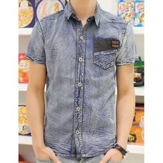 Slimming Trendy Leather Pocket Embellished Turn-down Collar Short Sleeves Men's Denim Shirt, AS THE PICTURE, L in Shirts | DressLily.com