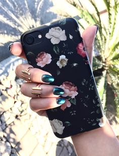 Dark Rose Floral on Black iPhone 7. Available for iPhone 7 & iPhone 7 Plus from Elemental Cases