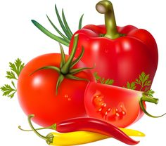Fresh Vegetables Clip Art | Clip art of Tomatoes and Peppers