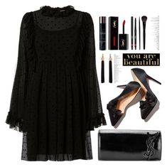 """""""Monochrome:All black everything"""" by jan31 ❤ liked on Polyvore featuring See by Chloé, Yves Saint Laurent, Americanflat and allblack"""