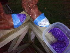 these boots were made for walkin'; painters tape; modge podge + glitter; spray adhesive + more glitter = these boots were made for walkin' and that's just what they'll do