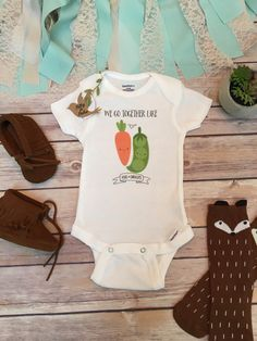 Funny onesies unique baby gift funny baby onesies baby shower twins onesies funny baby onesies best friends onesies baby shower gift hipster baby cute onesies we go together like peas and carrots negle Images