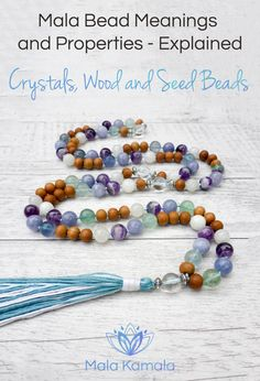 Pin Now, Read Later. Get to know what each wooden, seed and crystal bead means and what it can manifest for you. Crystal Meanings - Mala Kamala Mala Beads - Boho Malas, Mala Beads, Mala Necklaces and Bracelets, Childrens Malas, Jewelry and Baby Necklaces for yoga, meditation, prayer or part of boho style
