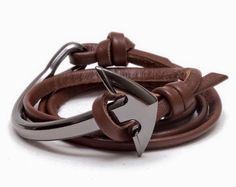Mocha brown leather-wrap bracelet with polished anchor fastening | Classy 19, Cambodia