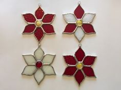 Handmade Stained Glass Poinsettia Suncatcher/Ornament