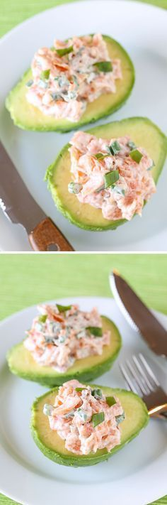 This recipe for Salmon Salad in Avocado Boats makes a delicious, quick and easy low-carb lunch or dinner with just a few ingredients.