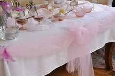 pink tule around the table cloth