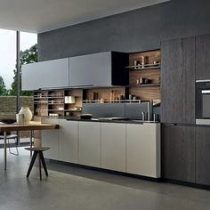 Steel and wood kitchen with peninsula PHOENIX by Varenna by Poliform Kitchen Dinning, Kitchen On A Budget, New Kitchen, Kitchen Decor, China Kitchen, Kitchen Store, Kitchen Ideas, Kitchen Units, Kitchen Cabinetry