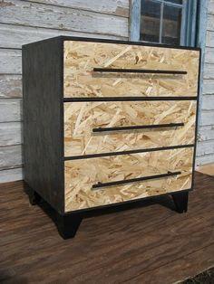 zen monk three drawer black stained osb dresser —