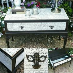 Shabby chic painted and decoupage console table in Annie Sloan's Graphite,  by Imperfectly Perfect xx