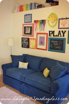 Rainbow family room with the clothes hanger frames