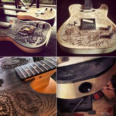 Ollie Munden collaborates with wood and leather craftsmen on awesome guitar project - Digital Arts Guitar Storage, Guitar Building, Guitar Design, Custom Guitars, Vintage Guitars, Beautiful Guitars, Cool Guitar, Vintage Postcards, Leather Craft