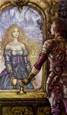 2 de coupes - Universal Fantasy Tarot par Paolo Martinello