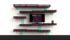 Mensole Donkey Kong. L'industrial designer Igor Chak ha realizzato queste divertenti mensole da parete ispirate al videogioco Donkey Kong, in fibra di carbonio, con il ripiano in vetro e le tipiche 'scale' che le uniscono in acciaio.Le mensole Donkey Kong saranno in vendita sul suo store.  Via www.designerblog.it