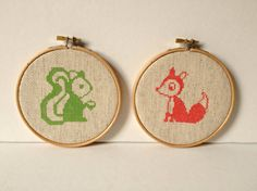 Woodland Creature Fox and Squirrel Counted by slipcoveryourlife, $30.00