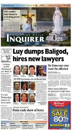 In case you missed: Today's (Mar. 5, 2014) Inquirer front page. Download the full version form inquirer.net/apps/.