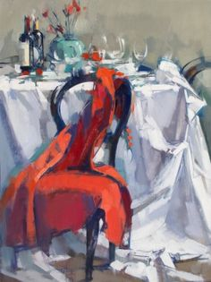 "Long Red Dress on Chair Long Red Dress on Chair Oil on linen 32"" x 24"""