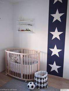 minimal nursery with  star wallpaper