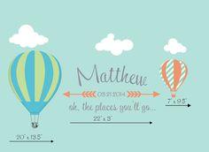 Hot Air Balloon Personolized Wall Decal Nursery & by PolkaDotWalls