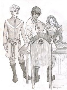 what is this from?? I know this artist draws a lot of book characters/scenes...EDIT: I guess it's from Percy Jackson...so why are they wearing colonial clothes?