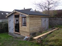 shed - Feather edge cladding frame. Reused second hand timber. Timber frame shed construction. Oak fence post used for door step. Oak Cladding, Steel Cladding, Timber Battens, House Cladding, Small Outdoor Shed, Outdoor Sheds, Outdoor Storage, Workshop Shed, Steel Sheds