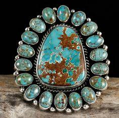 Ring   LaRose Ganadonegro. (Navajo).  Sterling silver with Pilot Mountain Turrquoise.
