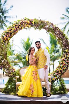 Fairytale, right? looks stunning in floral yellow lehenga! Shot by outfit Indian Wedding Stage, Indian Wedding Couple, Indian Wedding Outfits, Bridal Outfits, Indian Bridal, Mehendi Outfits, Wedding Planning Pictures, Indian Wedding Planning, Couple Wedding Dress