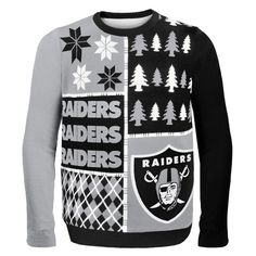 Oakland Raiders NFL Ugly Sweater Busy Block available at uglyteams.com. Check out uglyteams.com for other merchandise and accessories! #Oakland #Raiders