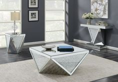 Triangle Encrusted Occasional Table Set Coaster Furniture in Occasional Table Sets. Modern and stylish in its shape - this Occasional Table Collection by Coaster Furniture is sure to make a statement. Unique triangle detailing with encrusted crystals. Silver Coffee Table, Silver Side Table, 3 Piece Coffee Table Set, Mirrored Coffee Tables, Coffee Table With Storage, Living Room Table Sets, Living Room Furniture, Living Rooms, Glass Table Set