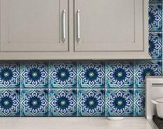 Cucina / Bagno blu indiano ceramica decalcomanie di Bleucoin