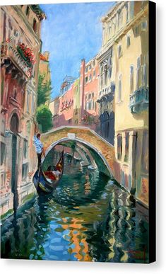 Venice Canvas Print featuring the painting Venice Ponte Widmann by Ylli Haruni