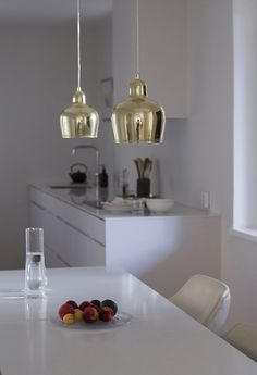 Kitchen, cabinets Kvik, lamps Golden Bell Artek, walls Strong White Farrow & Ball | Coffee Table Diary blog