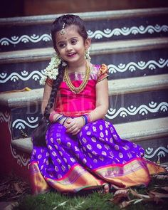 Sundays are for having fun and to look pretty ! A range of Kanjeevaram sarees and pattu parikinis now at Bhargavi Studio . Little Tamasi photographed by Indian Dresses For Kids, Kids Indian Wear, Kids Ethnic Wear, Dresses Kids Girl, Kids Outfits, Baby Dresses, Baby Lehenga, Kids Lehenga, Kids Dress Wear