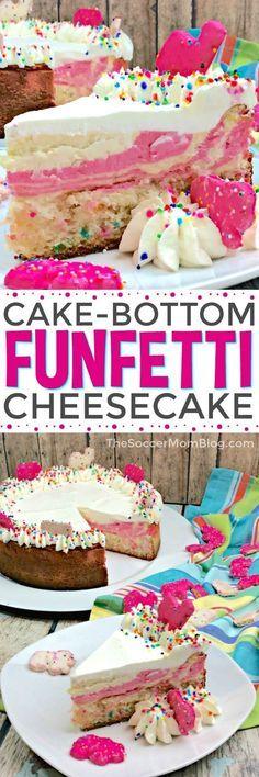 Pink swirl cheesecake with funfetti cake bottom