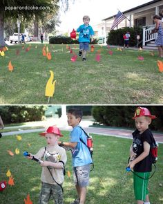 """Kinderparty """"Feuerwehr"""": fire activity: shoot down the foam flames with a water gun Fireman Party, Firefighter Birthday, Firefighter Decor, Birthday Party Games, Boy Birthday, Fireman Kids, Fireman Sam, Police, Real Life"""