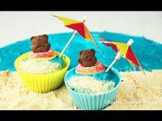 Tiny Teddy Beach Cupcakes - summer beach theme party - tutorial by Ashle...