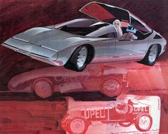 Opel concept - IIlustration/concept by Hideo Kodama. Added to the 1974 calendar.