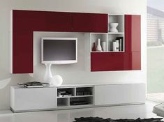 Modern Wall Unit Kubo 56 by Artigian Mobili Italy Modern Tv Cabinet, Modern Tv Wall Units, Tv Cabinet Design, Tv Wall Design, Modern Wall, Living Room Tv Unit Designs, Bedroom Cupboard Designs, Tv Unit Furniture, Furniture Design